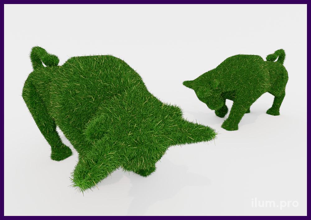 Зелёная фигура быка с искусственной травой - топиари для украшения парков, скверов и частных владений