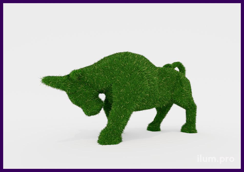 Фигура быка из искусственного газона на композитном покрытии, ландшафтные топиарные декорации