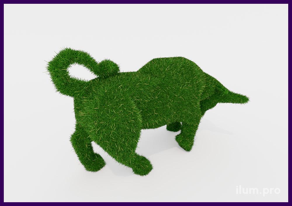 Бык из зелёной искусственной травы - топиарий для украшения ландшафта летом и зимой