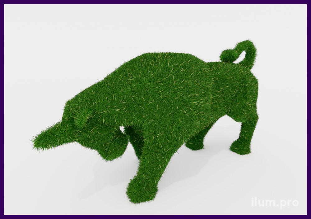 Быки полигональные с покрытием искусственной травой зелёного цвета для улицы
