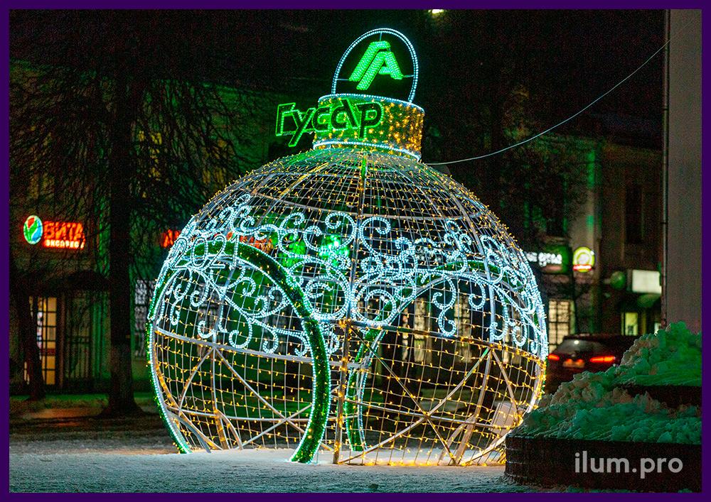Украшение города во Владимирской области светодиодными фигурами с гирляндами на Новый год