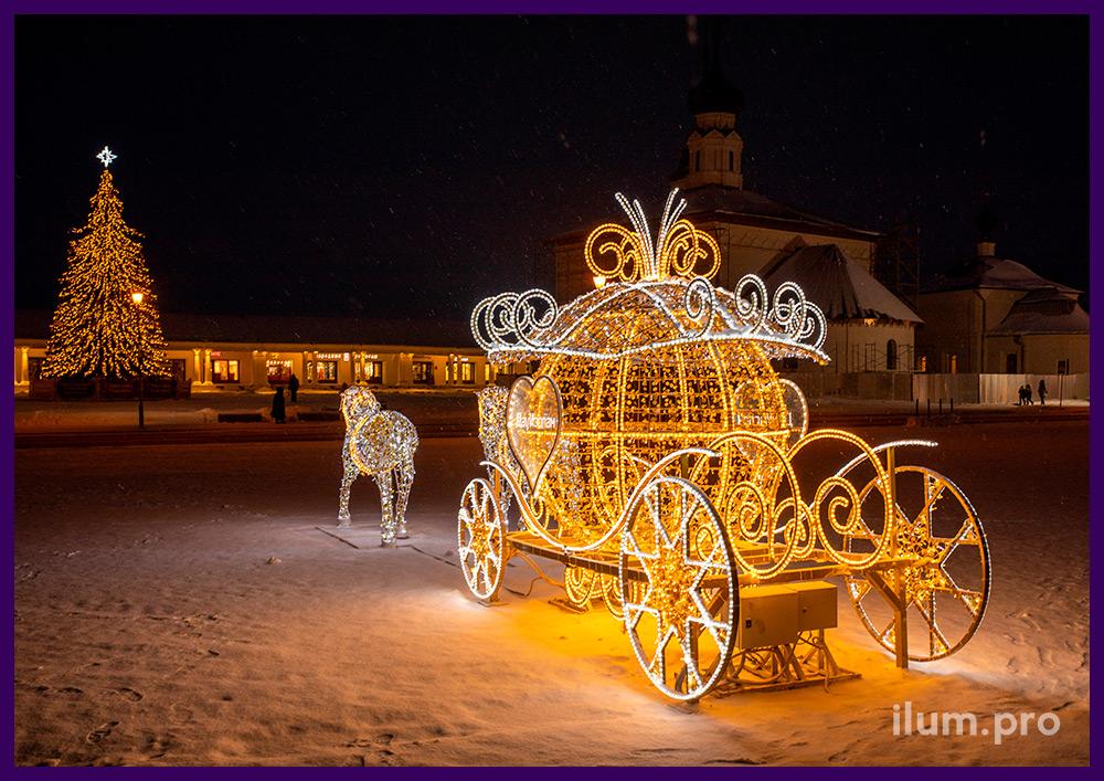 Светодиодная фигура лошади и карета из гирлянд для украшения города во Владимирской области
