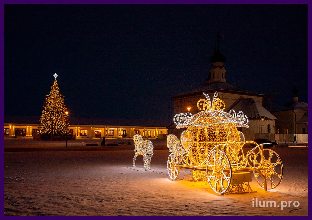 Карета Золушки со светодиодными гирляндами и дюралайтом на металлическом каркасе с блёстками во Владимирской области