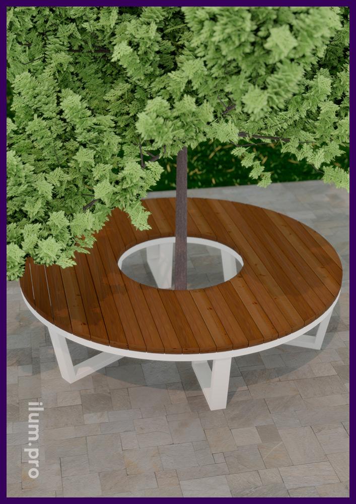 Скамейка с строгом скандинавском стиле для установки вокруг деревьев кольцом