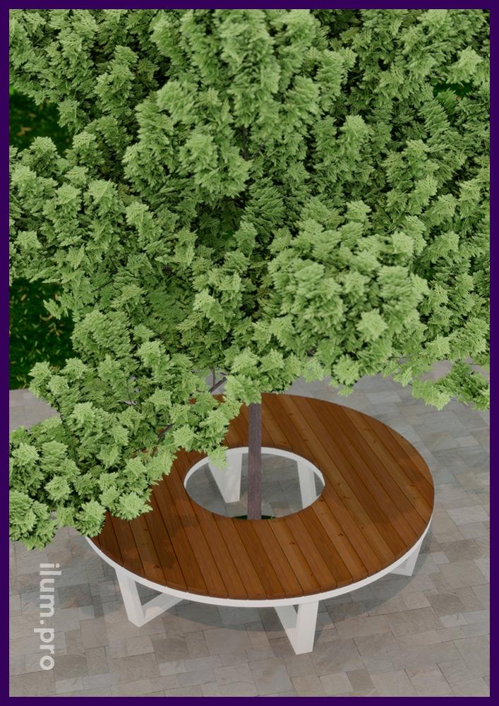 Лавочка металлическая с деревянным покрытием для установки вокруг деревьев в парках и садах
