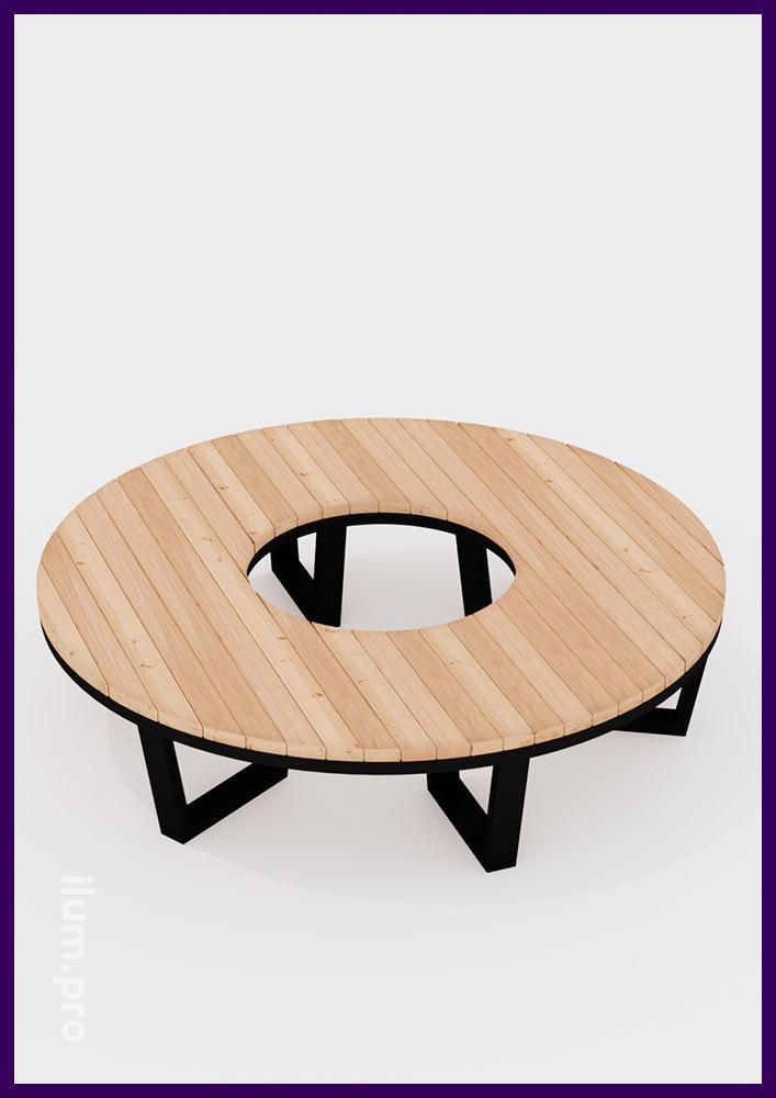 Уличная мебель модульная с деревянным покрытием для установки в парках и на площадях вокруг деревьев