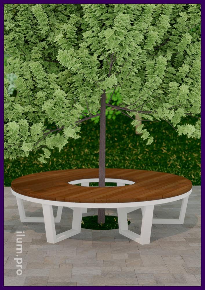 Скамейка в форме кольца в строгом скандинавском стиле из металлического каркаса и дерева