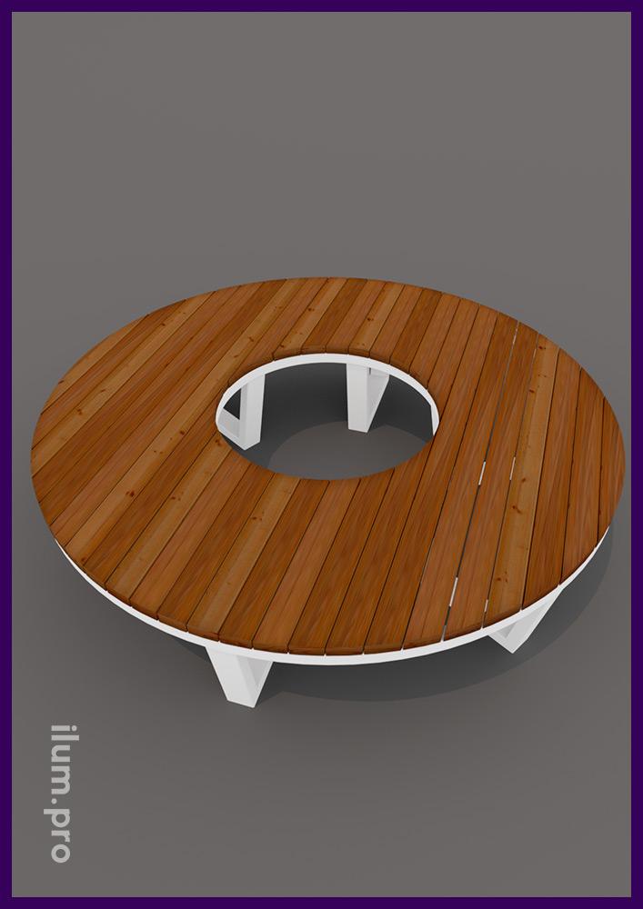 Парковая скамейка для установки вокруг деревьев с металлическим основанием в скандинавском стиле
