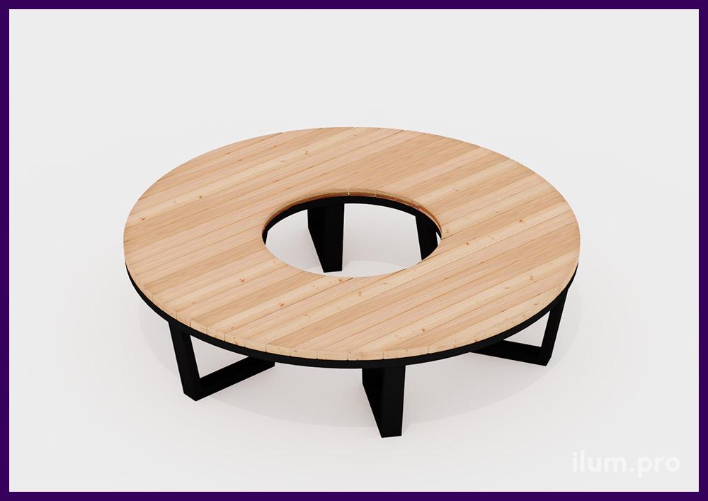 Скамейка из металлического основания и деревянного бруса для благоустройства территории ЖК