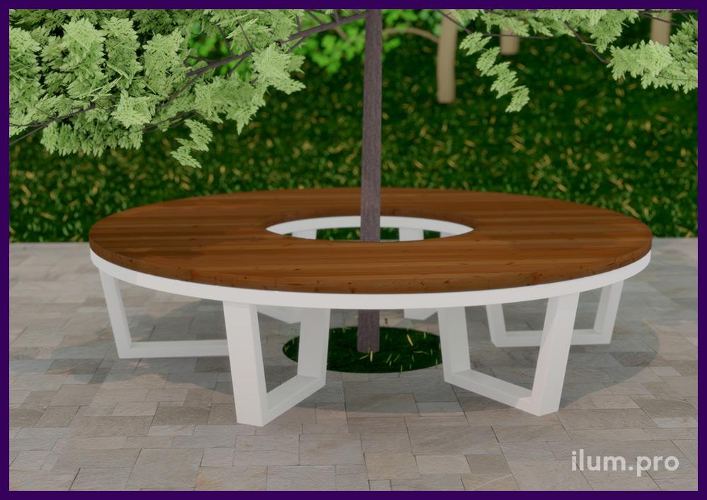 Скамейка модульная из металла и дерева для благоустройства территории с местами для установки деревьев