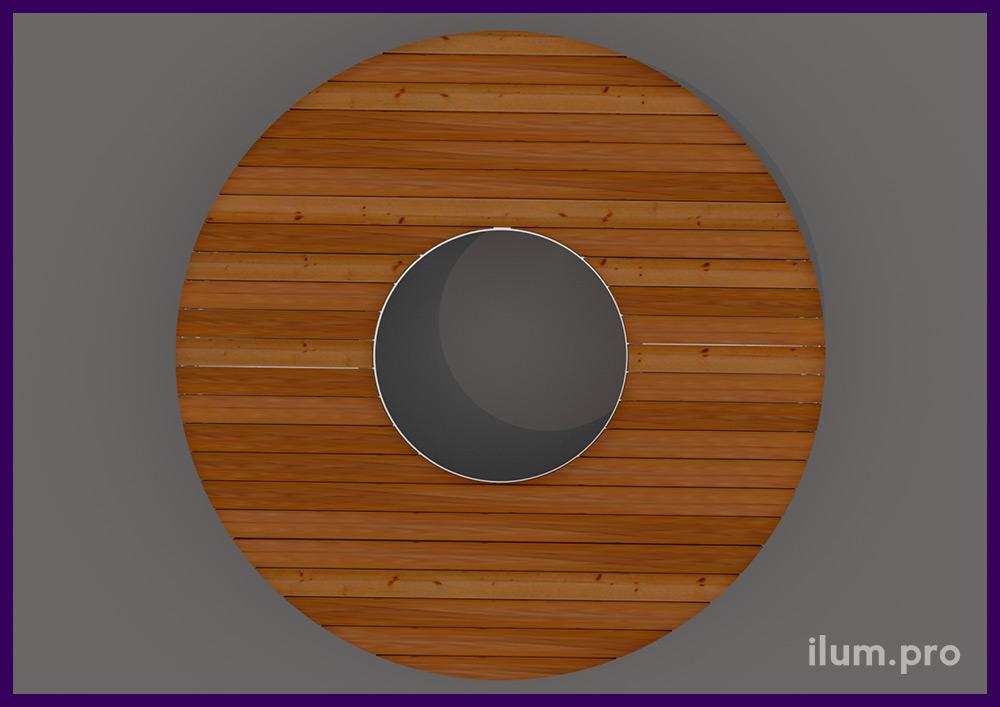 Лавочка в виде кольца для установки вокруг дерева в парке или саду, уличная модульная мебель