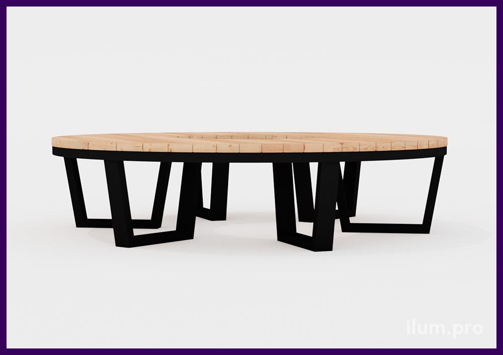 Парковая скамейка в строгом скандинавском стиле с металлическим каркасом в форме кольца