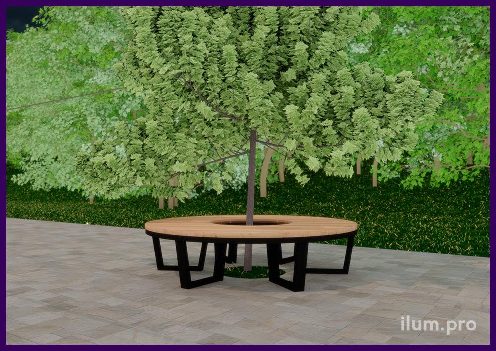 Металлическая скамейка с деревянным покрытием в форме кольца для установки вокруг растений