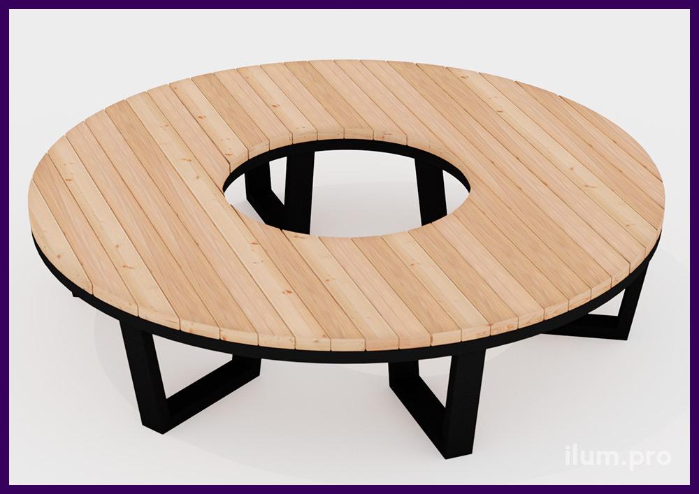 Модульная садово-парковая мебель в строгом стиле из дерева и металла от производителя