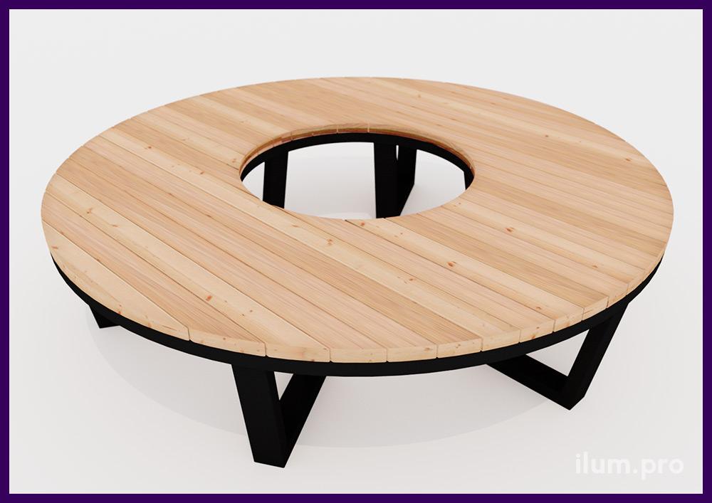 Модульная лавочка в форме дуги или кольца из деревянного бруса и стального основания