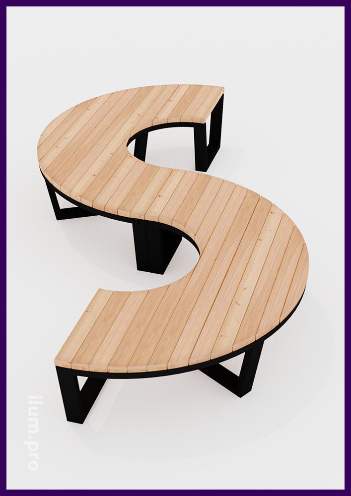 Садово-парковая мебель из дерева и металла с модульной конструкцией