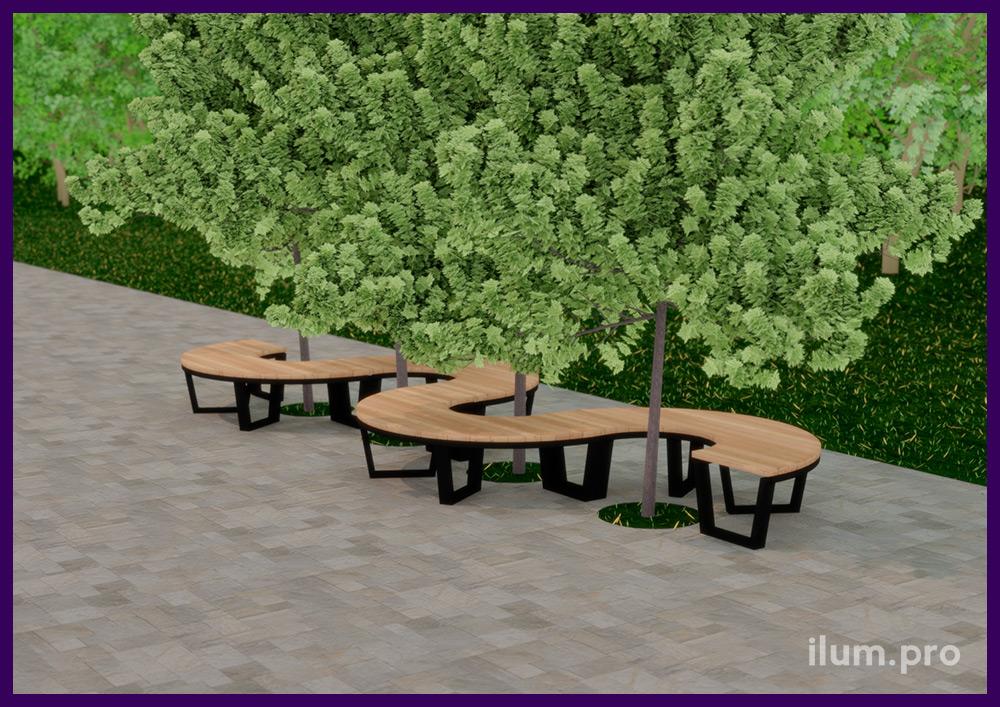 Модульная парковая мебель в строгом скандинавском стиле из дерева и металла