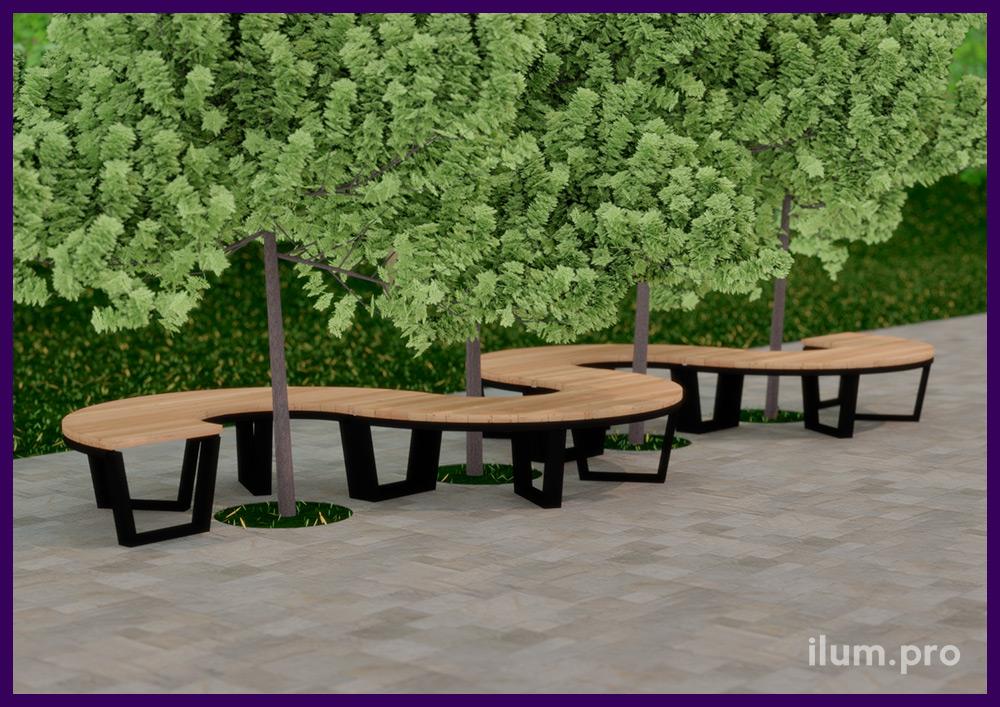 Модульная парковая скамейка в форме пары дуг, установленных вокруг дерева на площади