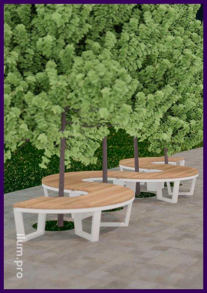 Мебель садово-парковая с модульным каркасом из металла и дерева в форме круга