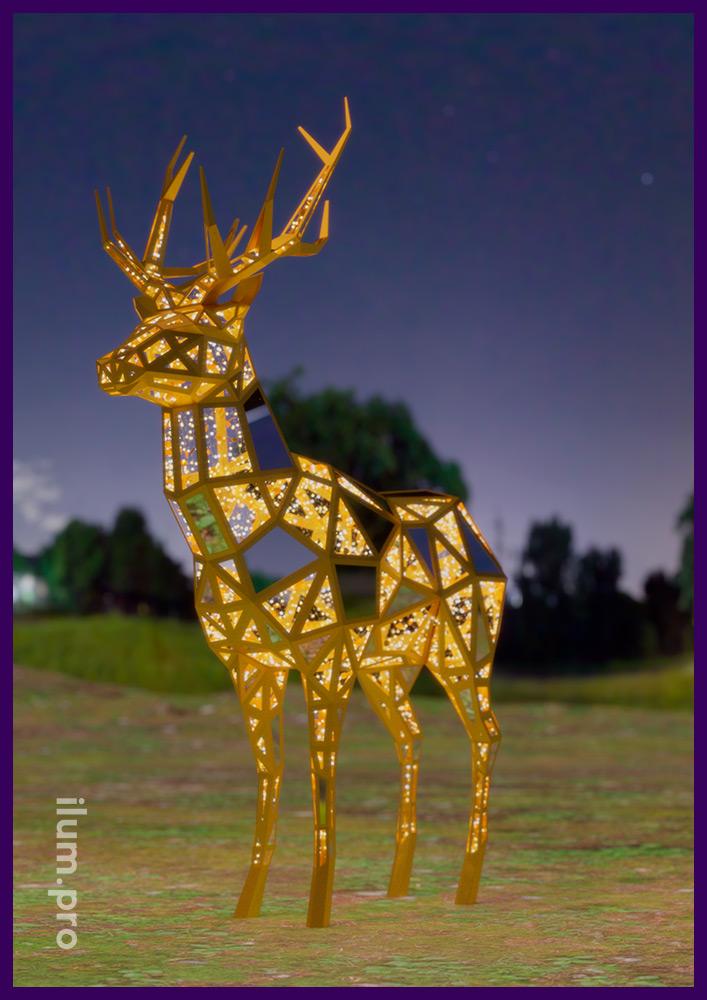 Фигура оленя полигональная с металлическим каркасом и встроенной светодиодной иллюминацией