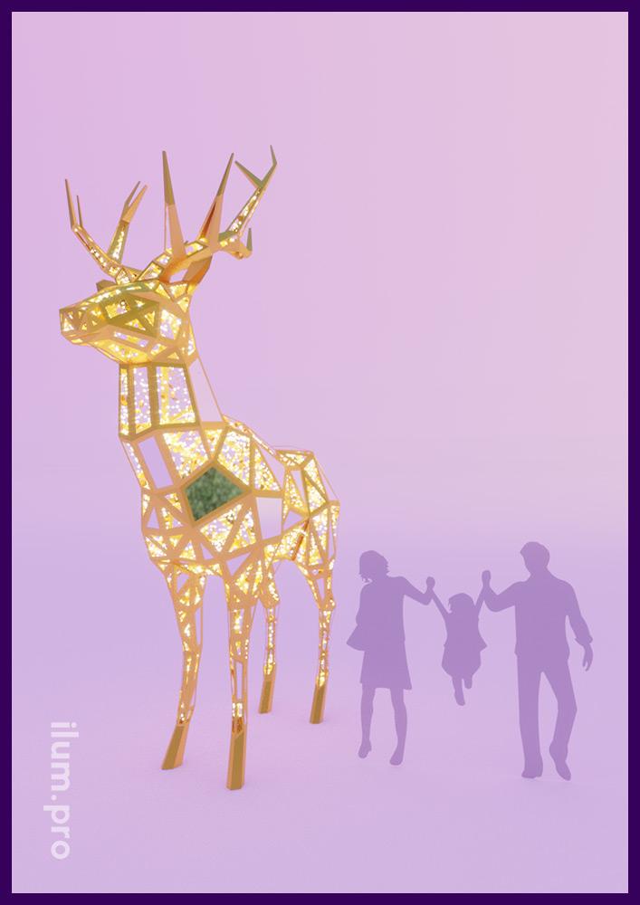 Фигура оленя из светодиодных гирлянд и металлического каркаса в полигональном стиле