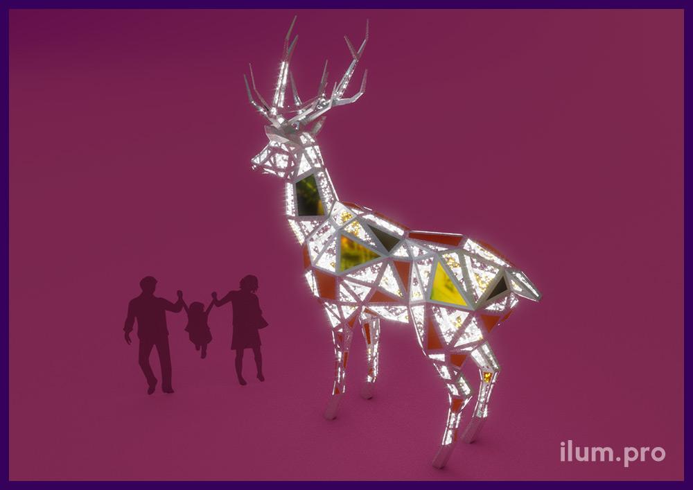 Фигура оленя светодиодная в полигональном стиле - праздничные декорации с защитой IP65