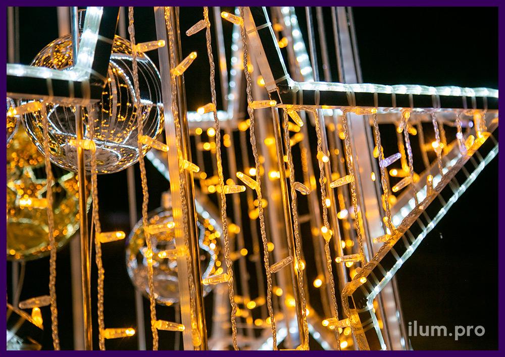 Ёлка с макушкой в форме звезды из алюминиевого профиля и светодиодной иллюминации