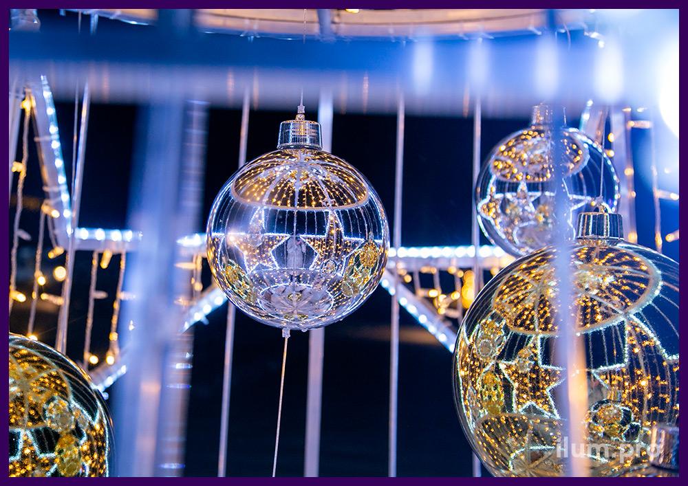 Композиция из светодиодного дюралайта и гирлянд на металлическом каркасе в форме конуса - новогодняя ёлка