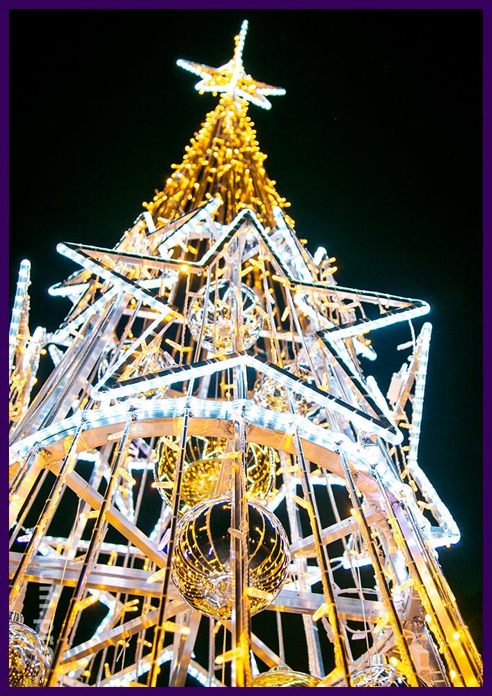 Новогодняя подсветка двора дома в Подмосковье светящейся ёлкой с уличными гирляндами и дюралайтом с игрушками