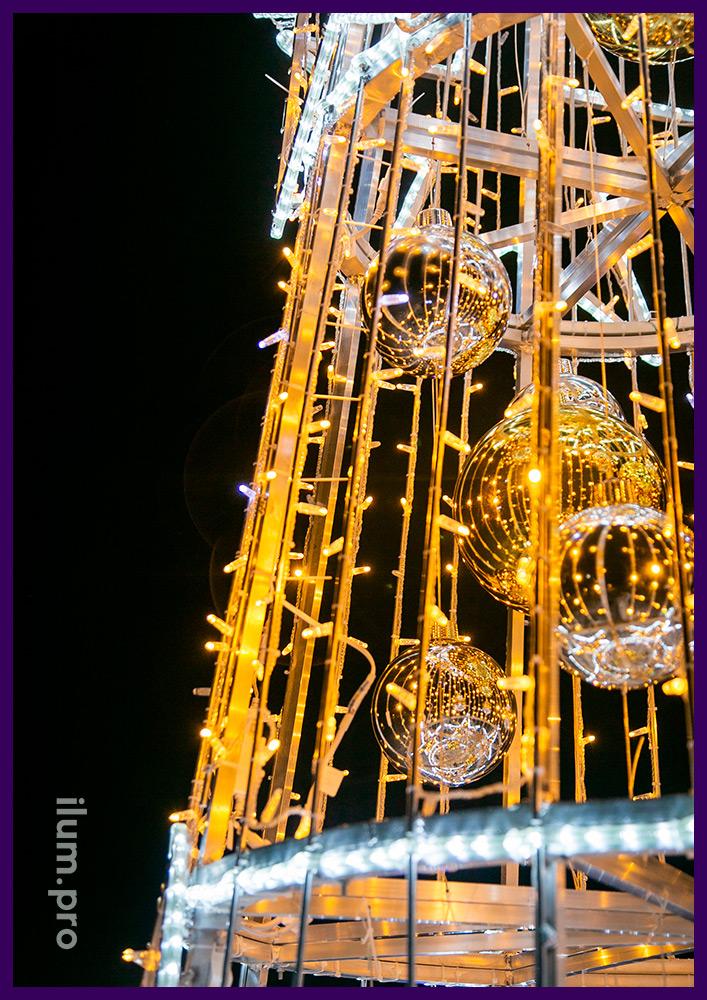 Новогодние ёлки из разноцветных гирлянд и профессионального дюралайта на каркасе из алюминиевого профиля