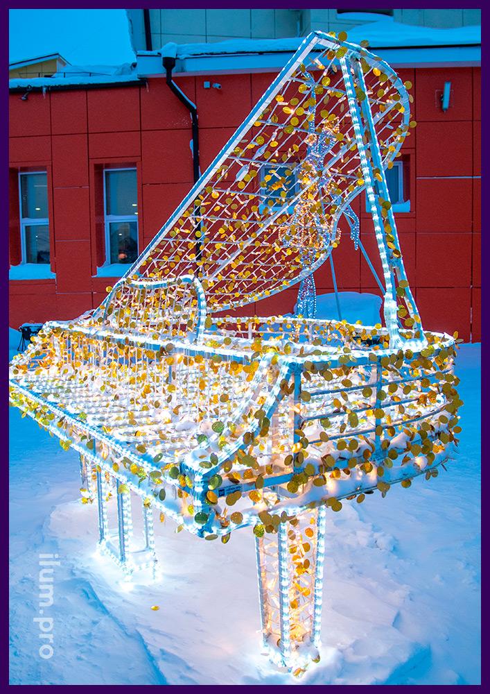 Новогоднее украшение ЯНАО световыми фигурами с гирляндами и дюралайтом