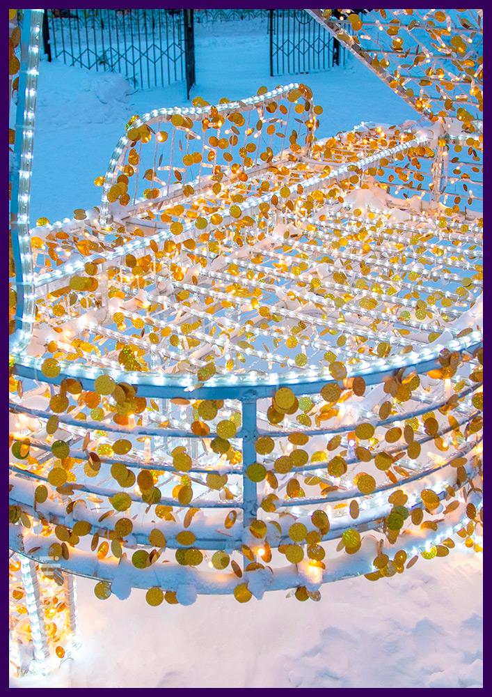 Рояль из металла и светодиодных гирлянд с голографическими элементами для украшения улицы