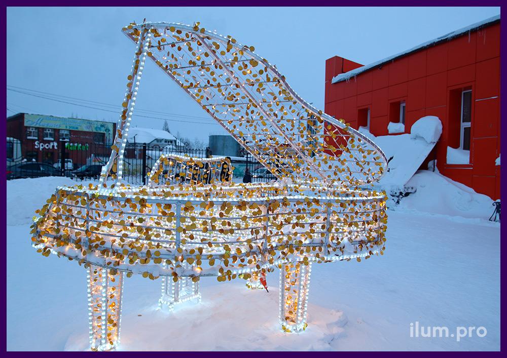 Рояль с золотыми блёстками и профессиональной иллюминацией на новогодние праздники
