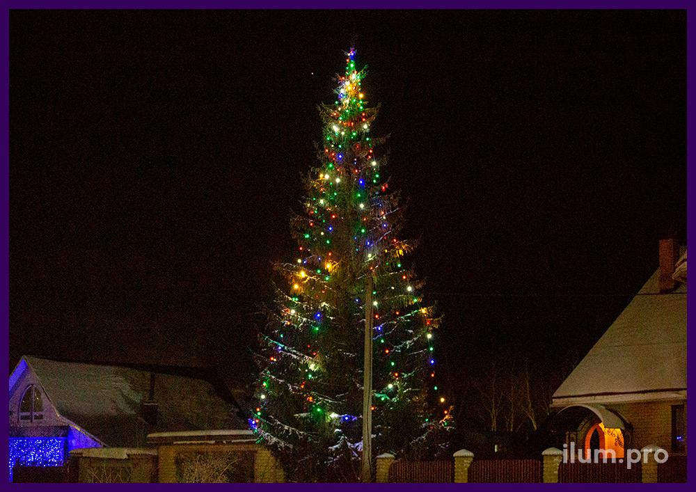Новогодняя иллюминация с разноцветными светодиодными лампочками белтлайт для украшения живых елей