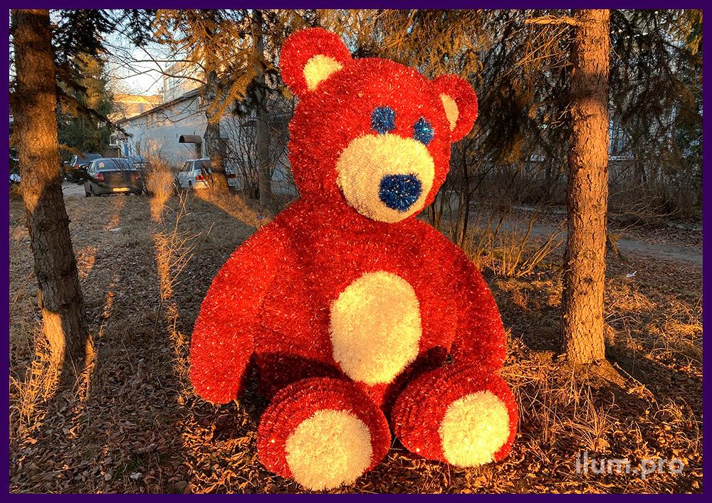 Декоративная фигура для парков в форме плюшевого медведя с подсветкой
