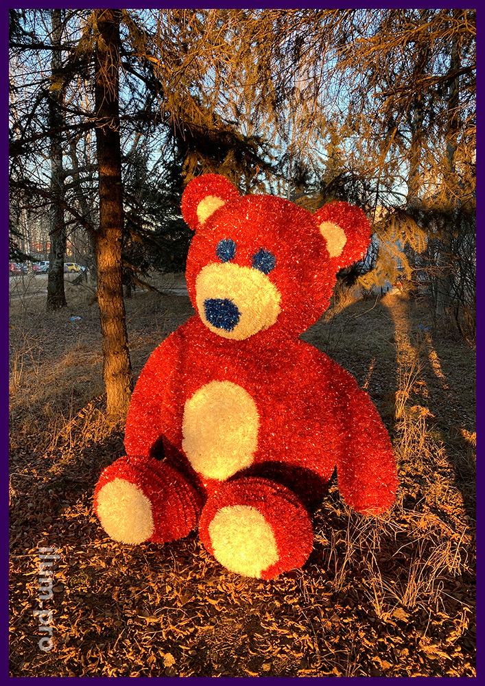 Фигура плюшевого медведя из алюминиевого каркаса для парка