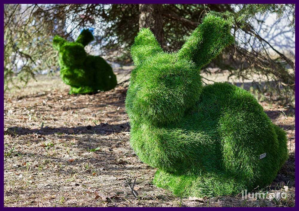 Фигуры животных топиари из искусственной травы для установки в саду