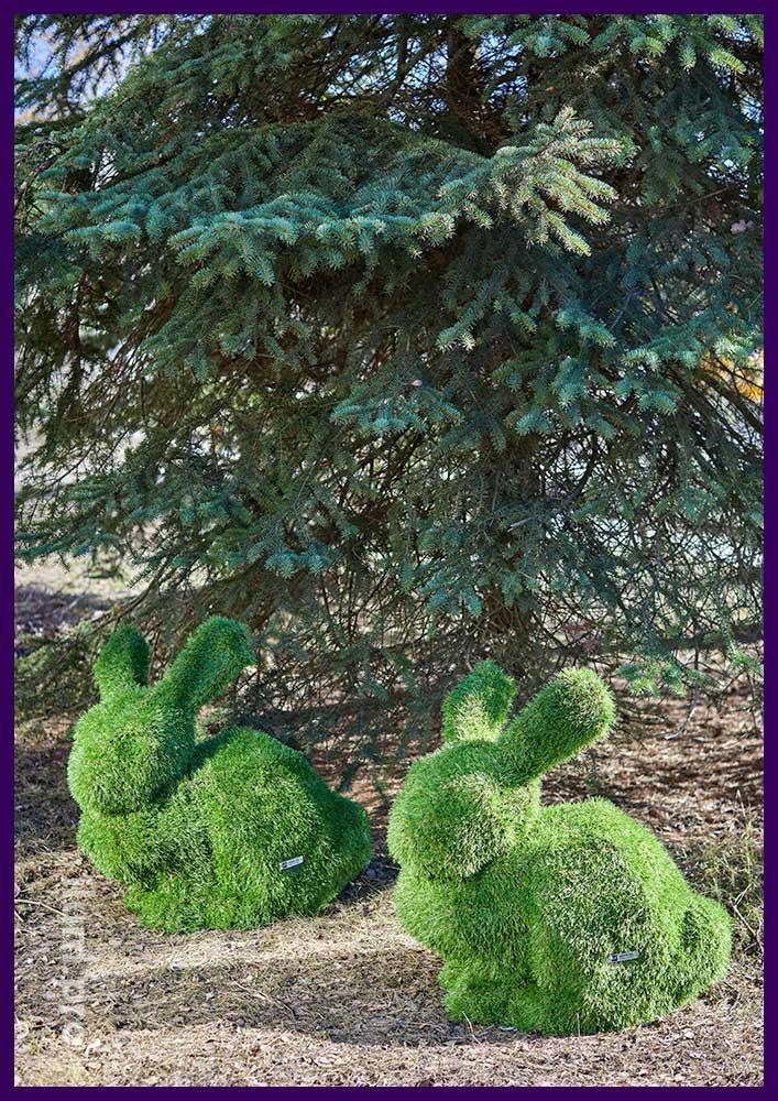 Зайцы зелёные метровые для установки в парке с поверхностью из травы