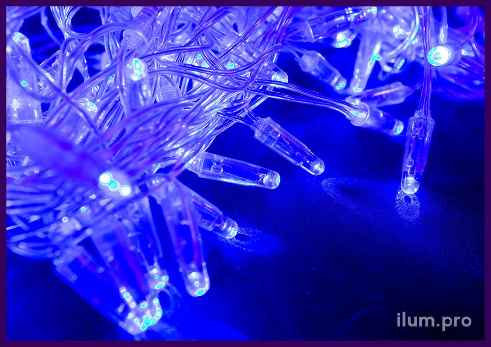 Синяя светодиодная бахрома с прозрачным проводом и защитой от влаги и пыли IP65