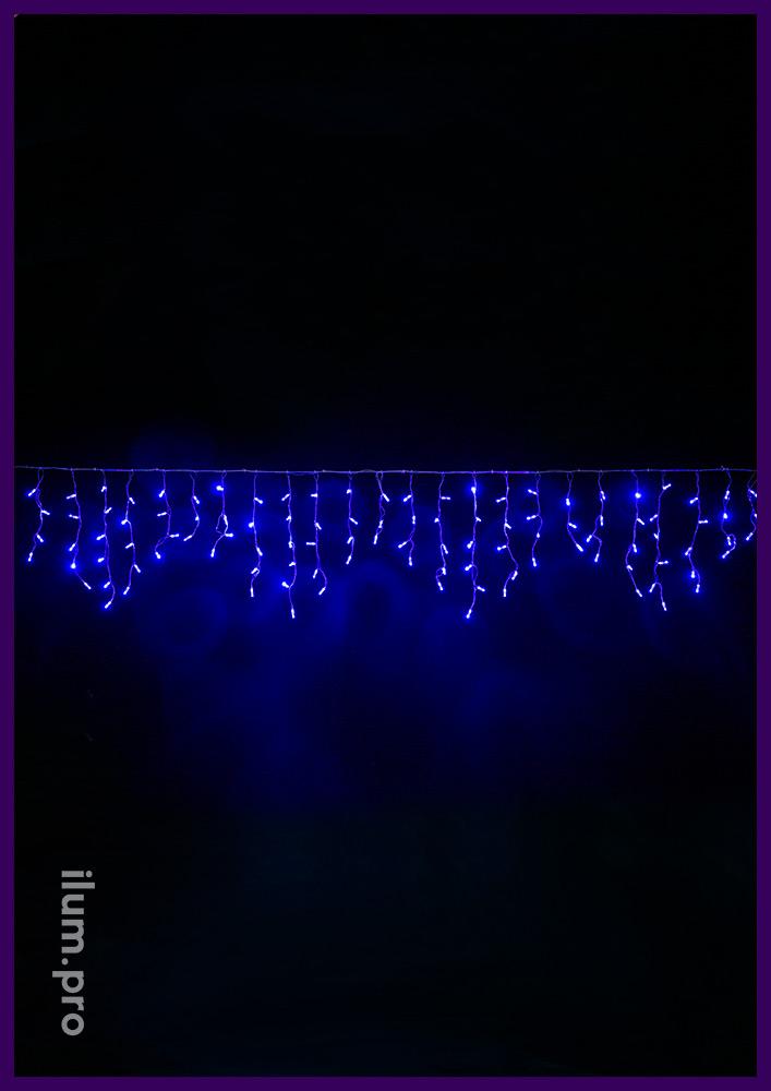 Синяя светодиодная бахрома на прозрачном проводе с нитями длиной 30-60 сантиметров