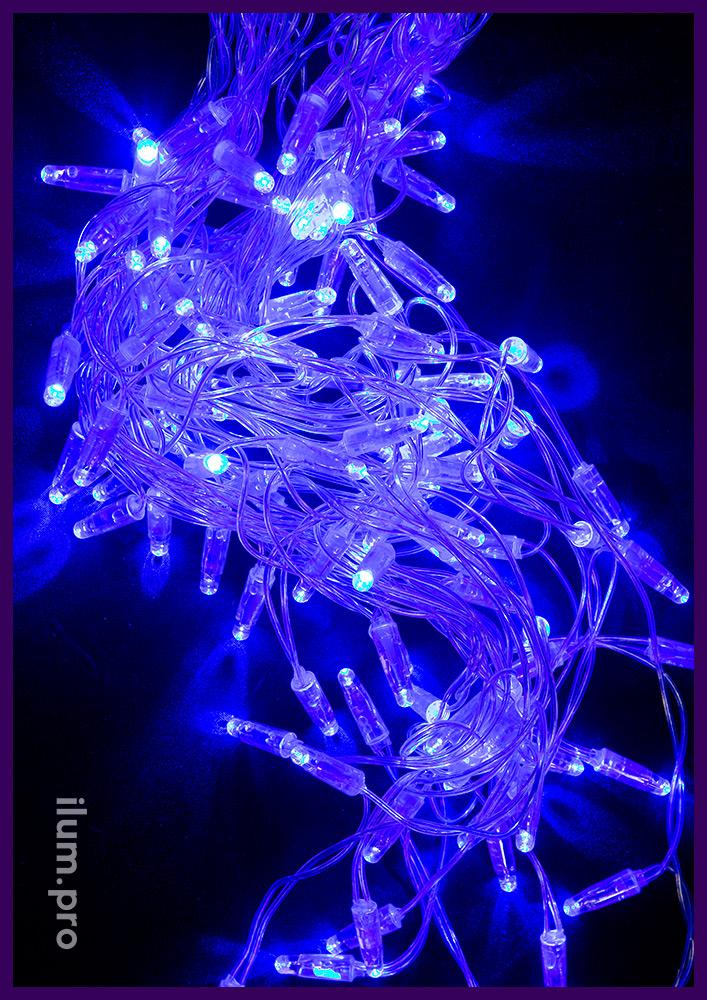 Бахрома светодиодная синяя с прозрачным кабелем и статическим свечением, нити до 60 см
