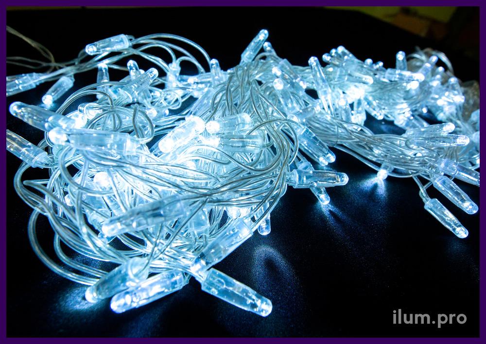 Белая уличная гирлянда с нитями разной длины на прозрачном проводе, айсикл статического свечения