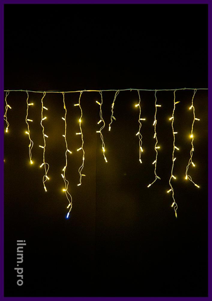 Мерцающая светодиодная гирлянда бахрома с нитями разной длины и защитой от осадков