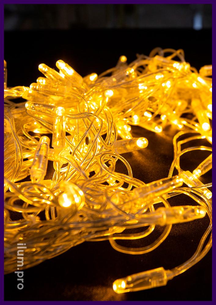 Тёпло-белая светодиодная гирлянда бахрома с прозрачным проводом и постоянным свечением