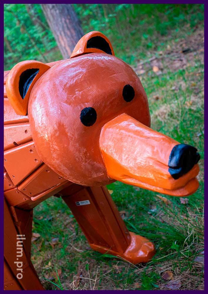 Фигуры животных для детских площадок, парков и скверов - медведь коричневого цвета