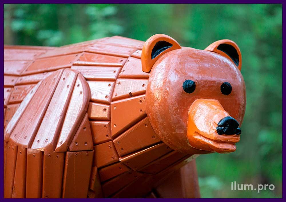 Медведь деревянный, фигура садово-парковая с износостойким покрытием разных цветов