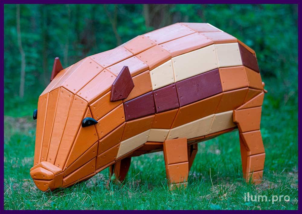 Фигуры животных для детских площадок, парков и скверов - свинка разных цветов