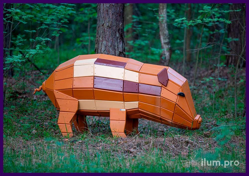 Свинья деревянная - арт-объект для детской площадки, а также благоустройства территории