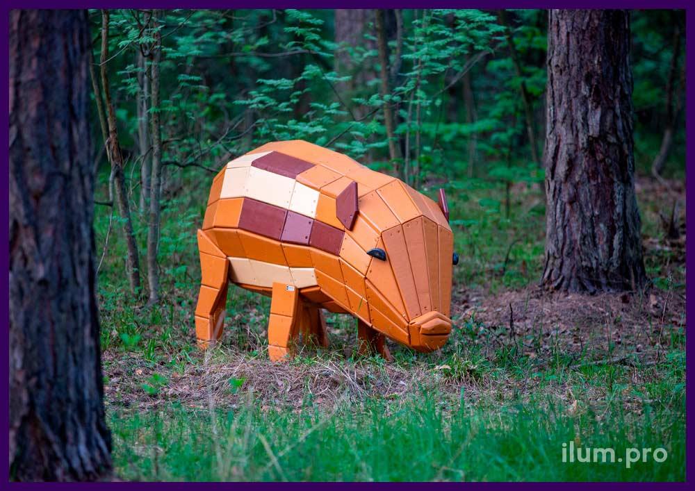 Деревянная свинья - декоративная фигура для установки в парках и скверах, красивая фотозона