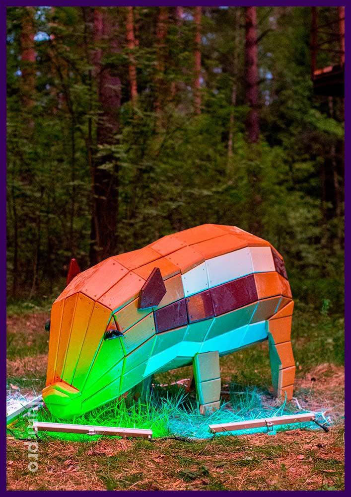Объёмная декоративная фигура из дерева в форме свинки, садово-парковый арт-объект для взрослых и детей
